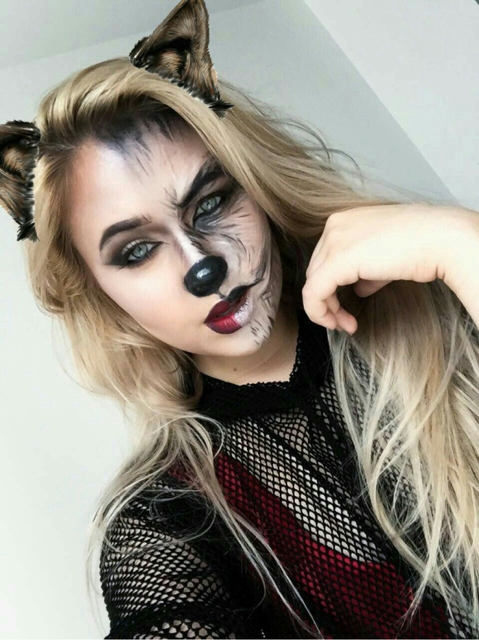 64 идеи макияжа на Хэллоуин на половину лица